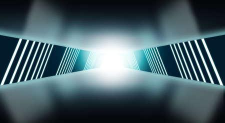 Modern futuristic sci-fi corridor with neon lights .