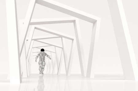 Astronaut walking on abstract geometric background . This is a 3d render illustration .