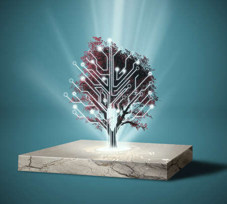 Circuit board tree . Artificial intelligence concept .