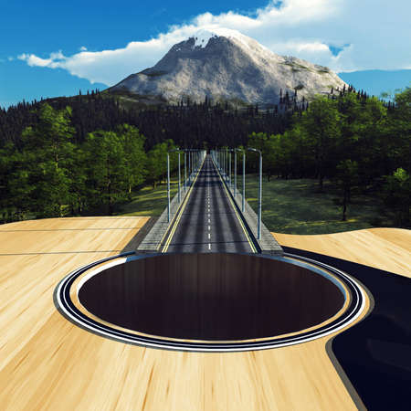 Guitar as a highway in the forest leading to a mountain . This is a 3d render illustration .