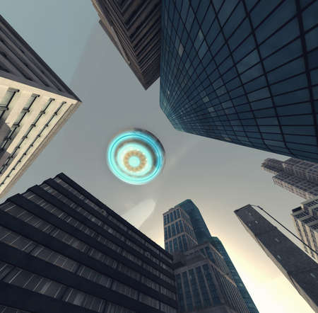 UFO flying above a city . This is a 3d render illustration .