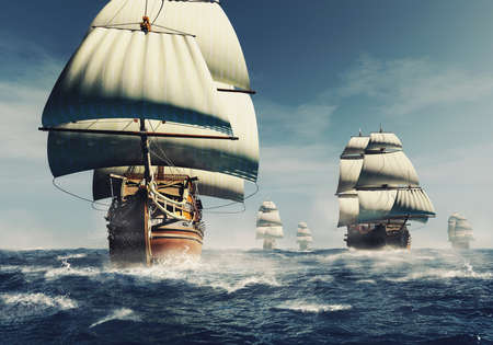 Old battleship fleet in the sea . This is a 3d render illustration. Reklamní fotografie
