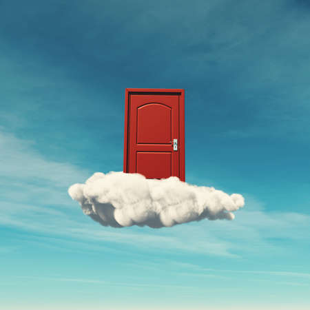 Red door on a cloud . Aspiration concept . This is a 3d render illustration .
