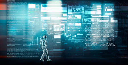 Astronaut walking in futuristic room with big data information . This is a 3d render illustration .
