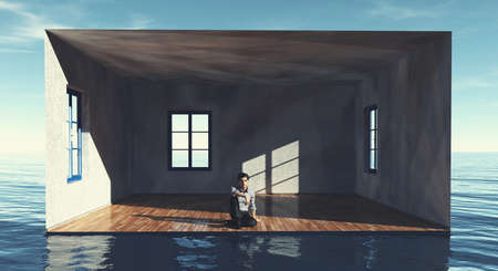 Man sitting inside a room in the ocean . Dream house property concept . This is a 3d render illustration .