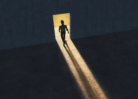 Man walking out of a room through opened door . Pathway of opportunity.  Start up and career concept . This is a 3d rende illustration .