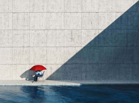 Man sitting on chair with an umbrella on a modern minimalist architecture . This is a 3d render illustration .