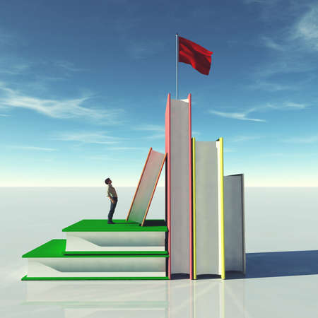 Man on group of books looks up to a red flag . Scholarship and education concept . This is a 3d render illustration . Reklamní fotografie