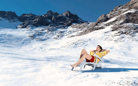 Man in summer clothes on snowy mountains . Season  change concept . This is a 3d render illustration . Reklamní fotografie