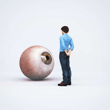 Man looks at a oversized eye . Recruiting concept . This is a 3d render illustration .