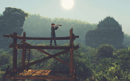 Man on top of a wood tower looks through binoculars . This is a 3d render illustration .