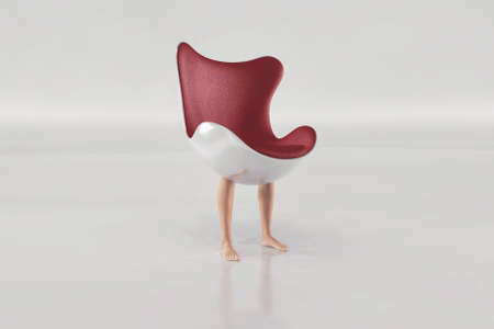 Modern chair with human legs . Interior design concept .  This is a 3d render illustration . Reklamní fotografie