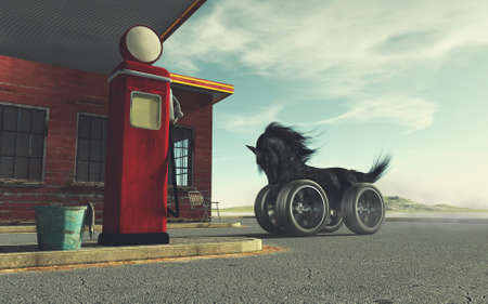 Black horse with car wheels instead of legs at a gas station . This is a 3d render illustration . Reklamní fotografie
