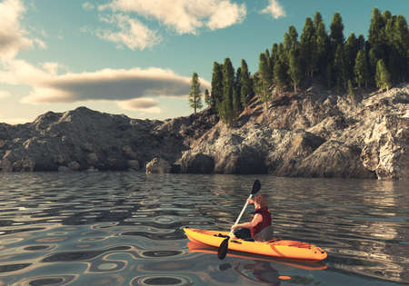 Man canoeing on a lake at mountains . This is a 3d render illustration .