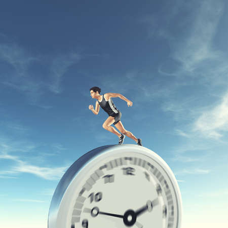 Man running on a clock . Runing out of time and deadline concept . This is a 3d render illustration .