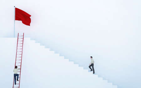 Climb to the red flag . Work smart not hard concept . This is a 3d render illustration . Reklamní fotografie