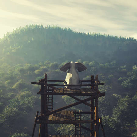 Elephant sitting on a wood tower looking at a forest . This is a 3d render illustration .