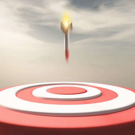 Rocket missle falling to a red target . Target audience and strategy concept . This is a 3d render illustration .