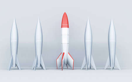 Rocket missle on white background . Stand out from the crowd concept .