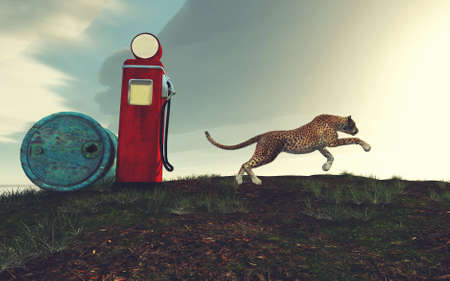 Cheetah running on field and a gas pump .. This is a 3d render illustration . Reklamní fotografie