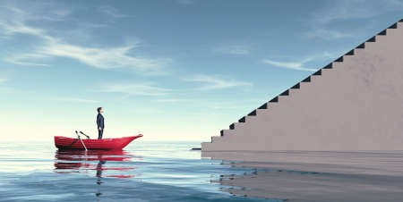 Man in a boat looking at stairs . Growth and self development concept . This is a 3d render illustration .