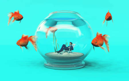 Man inside a fish bowl and golden fish arround . Job recruit concept This is a 3d render illustration.