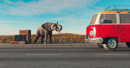 Elephant and luggages at highway with a van coming . Hitchhiker and travel concept . This is a 3d render illustration .