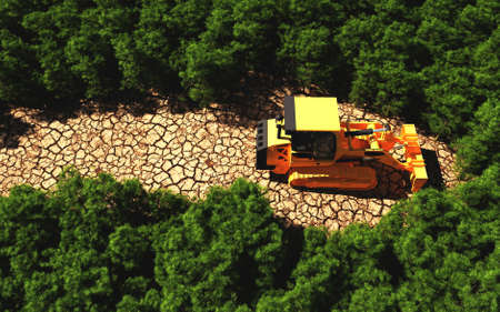 Bulldozer path on dry land in a forest . Deforestation and environment destruction concept . This is  a 3d render illustration . Reklamní fotografie