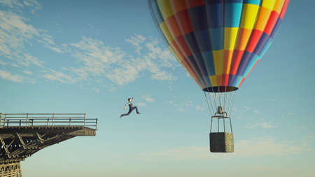 Man jumping from a broken bridge to a hot air balloon . Taking risk and overcome problems . This is a 3d render illustration .