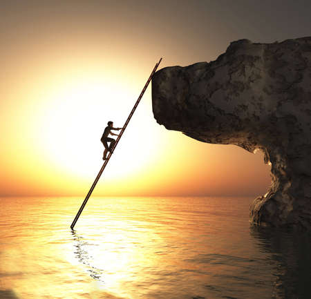 Man climbs on a rock cliff using ladder in the ocean . This is a 3d render illustration .