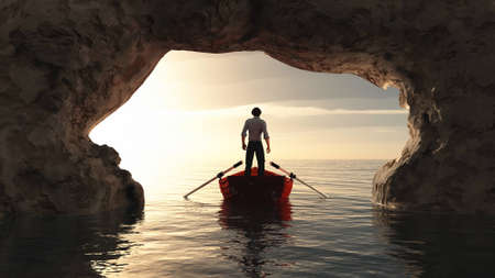 Man in a boat to the ocean under arched rock cave . This is a 3d render illustration .