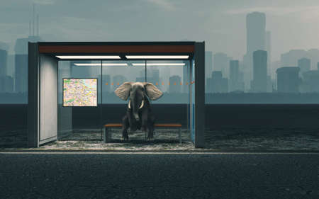 Elephant sitting at bus station with a city in background . This is a 3d render illustration.