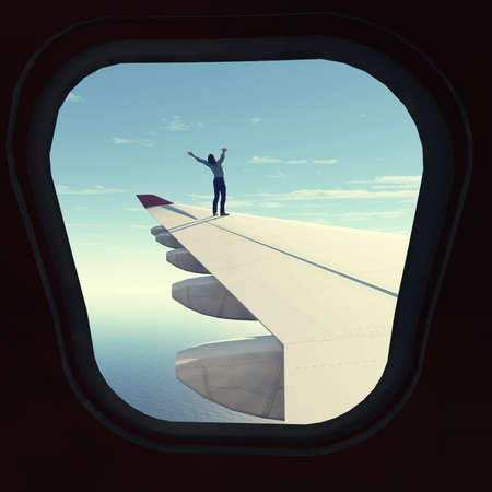 Man with raised hands on airplane wing , view through plane window. Travel concept . This is a 3d render illustration .