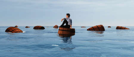 Man on wood barrel floating in the sea . This is a 3d render illustration . Reklamní fotografie