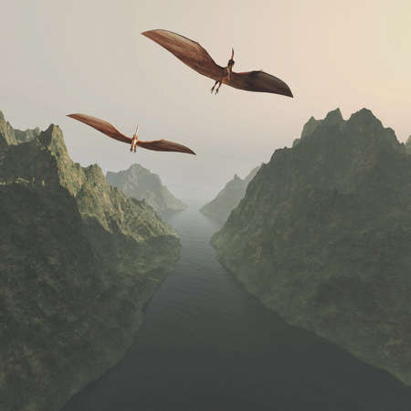 Pterodactyl flying above lake and mountains . This is a 3d render illustration .