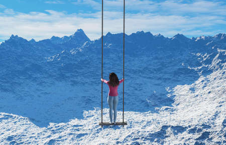 Woman on swing in front of a snowy mountain . This is a 3d render illustration . Reklamní fotografie