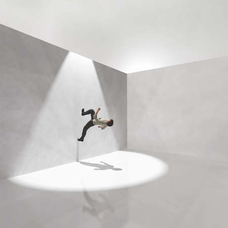 Man walks on a wall to escape from white room . This is a 3d render illustration . Reklamní fotografie - 165995298