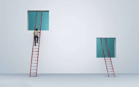 Man climbing on a ladder to an window . Illusion mindset and growth concept . This is a 3d render illustration . Reklamní fotografie