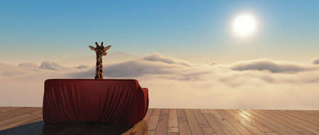 Giraffe on a red sofa above clouds . This is a 3d render illustration .