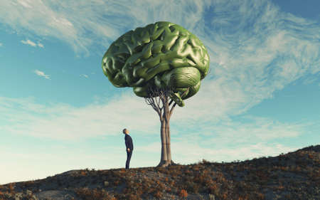Man looking up to a human brain tree . Mental illness and knowledge concept . This is a 3d render illustration .