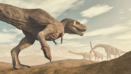 T rex and brachiosaurus species in the valley . This is a 3d render illustration . Reklamní fotografie