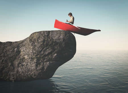 Man in a boat on a rock falling in the ocean . This is a 3d render illustration . Reklamní fotografie