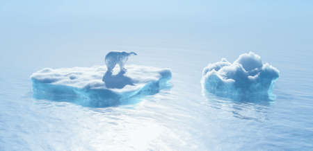 Polar bear on iceberg. Global warming concept . This is a 3d render illustration .