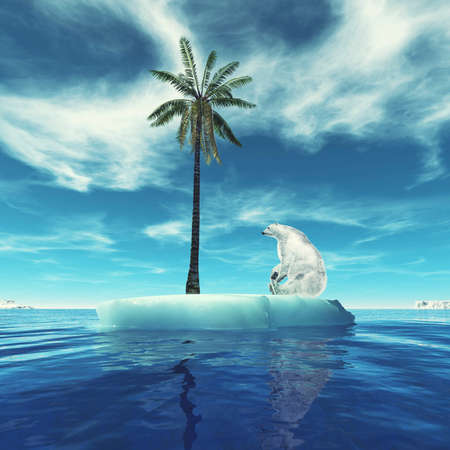 Polar bear on iceberg looking at palm tree. This is a 3d render illustration.