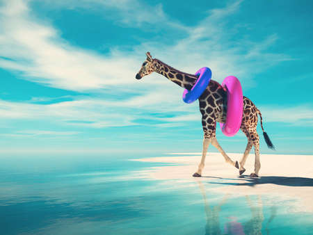 Giraffe with swim belt going to ocean . Travel and summer concept . This is a 3d render illustration .