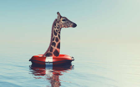 Giraffe in the ocean with a rescue belt . This is a 3d render illustration .
