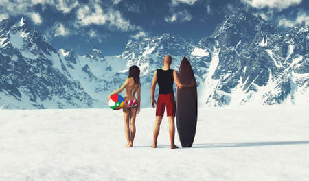 Couple in summer cloths at snowy mountains . Climate change concept . This is a 3d render illustration .