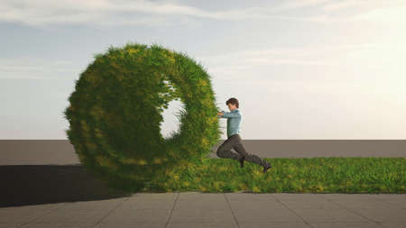 Man pushing a grass roll on aspahlt . Rebranding concept . This is a 3d render illustration . Reklamní fotografie - 167303403