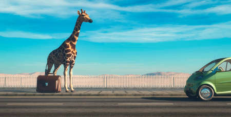 Giraffe with baggage on highway . Travel and hitchhiking concept . This is a 3d render illustration .