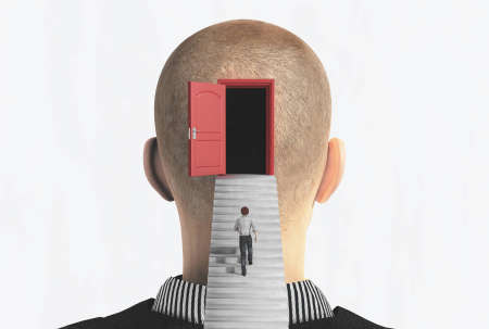 Man rising up on stairs to door in a person head .  Mindset and open mind concept . This is a 3d render illustration . Reklamní fotografie